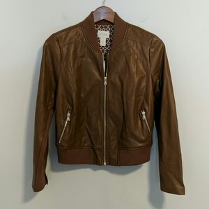 Gorgeous Chico's faux leather bomber jacket